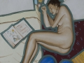 Nudino sdraiato con libro e palloncini-2001-olio su tela-60 x 50 cm..jpg